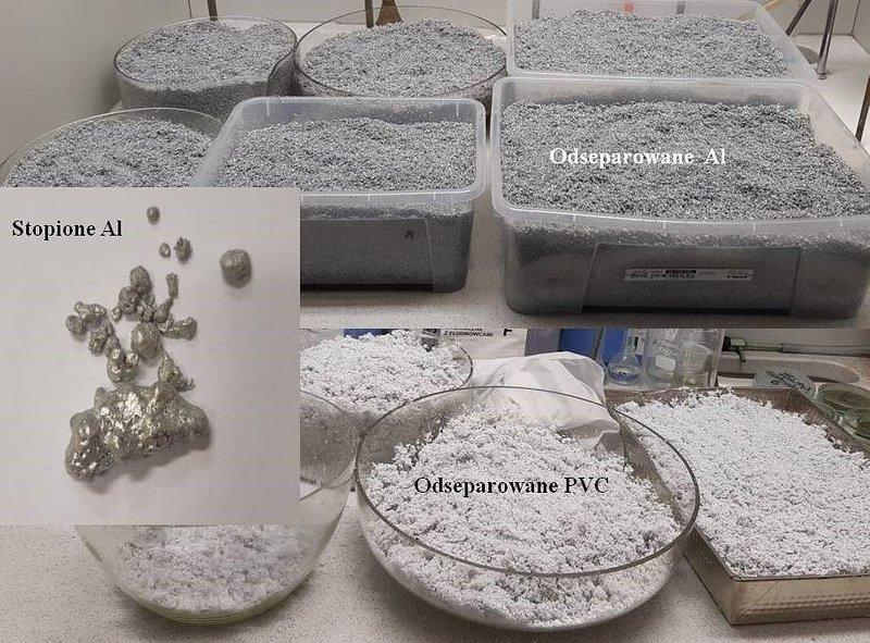 Odseparowane w procesie technologicznym tworzywo PVC oraz odseparowane i stopione aluminium.