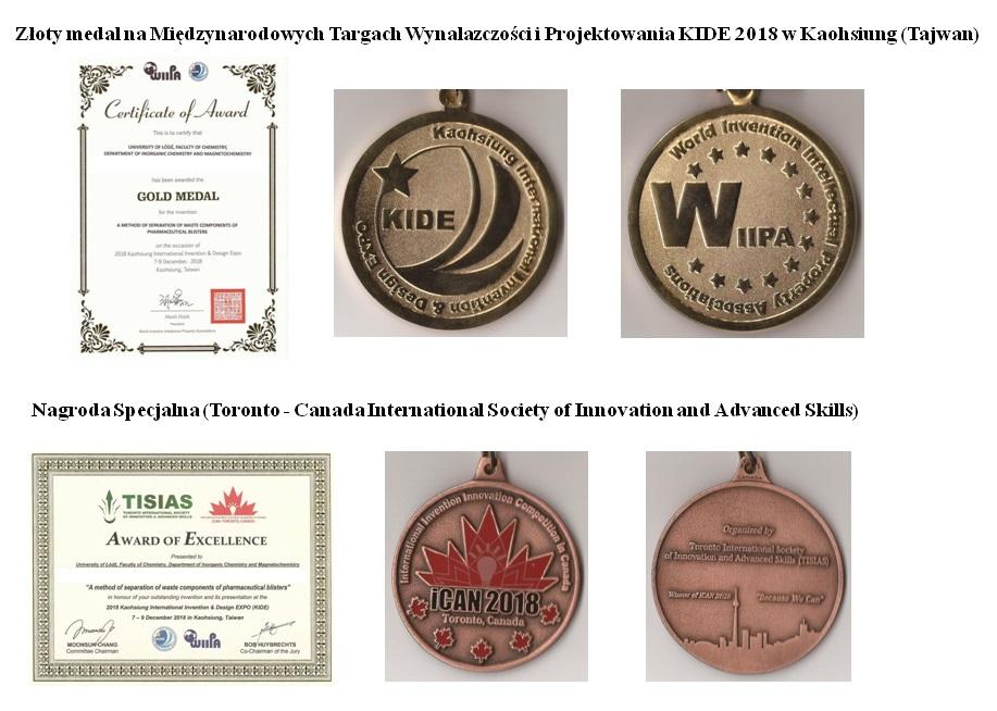 Dyplomy i medale otrzymane na Międzynarodowych Targach Wynalazczości i Projektowania KIDE 2018 w Kaohsiung (Tajwan).