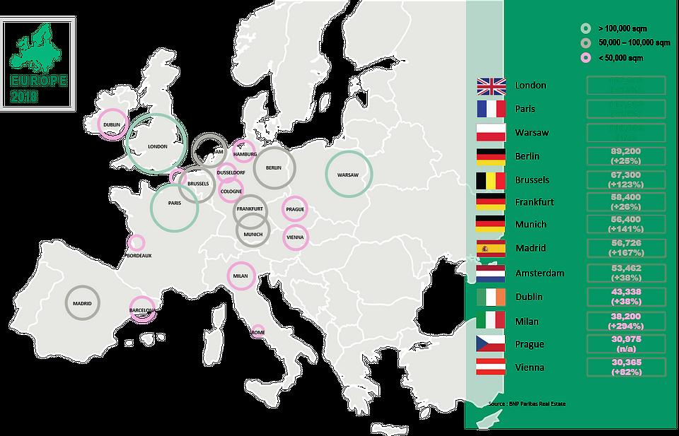Wolumen umów najmu podpisanych przez operatorów elastycznych powierzchni biurowych w Europie w 2018 r. (w tys. mkw.)