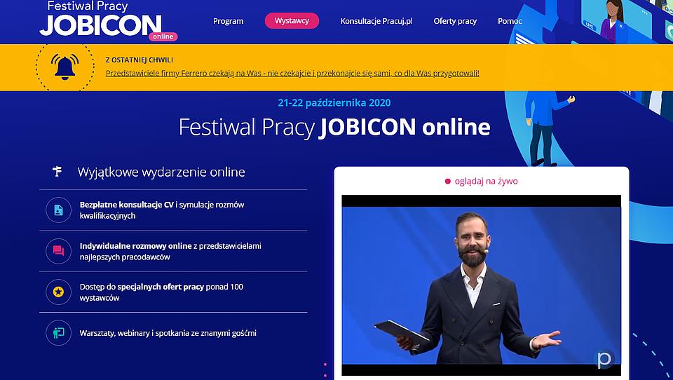 Fragment pierwszej edycji Festiwalu Pracy JOBICON Online
