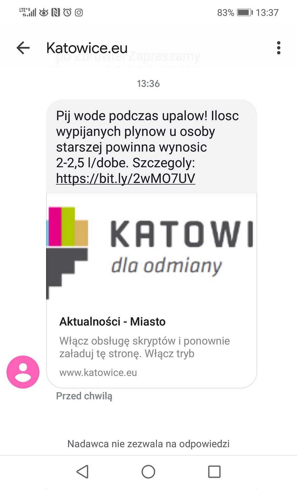 SMS od Urzędu Miasta Katowice; Źródło SMSAPI