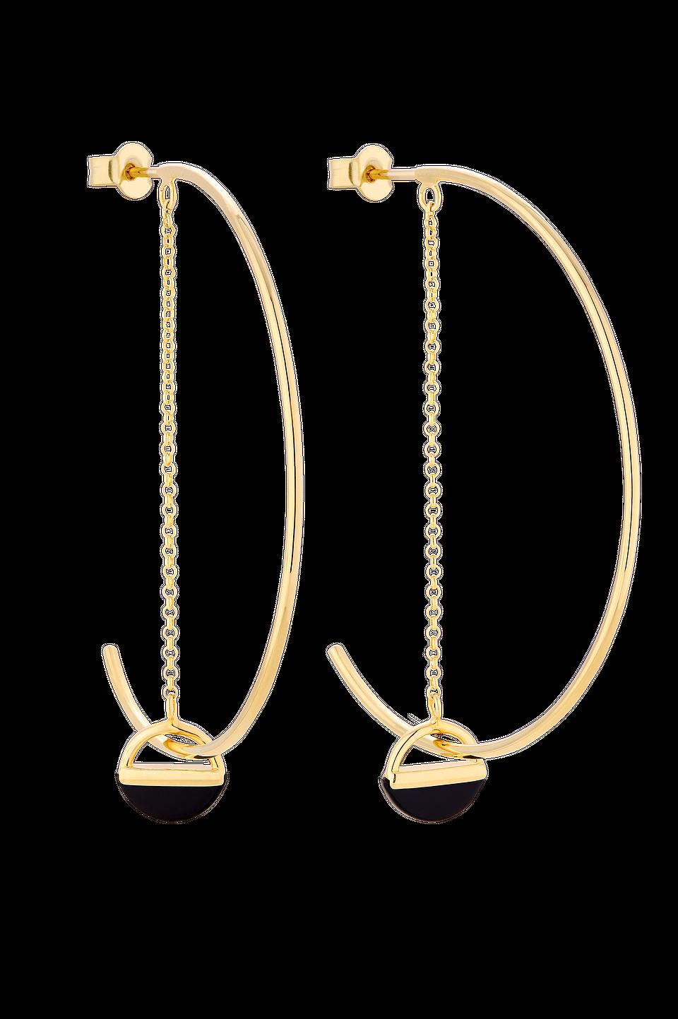 Kolczyki z łańcuszkiem i czarnym kamieniem ozdobnym, 350 zł