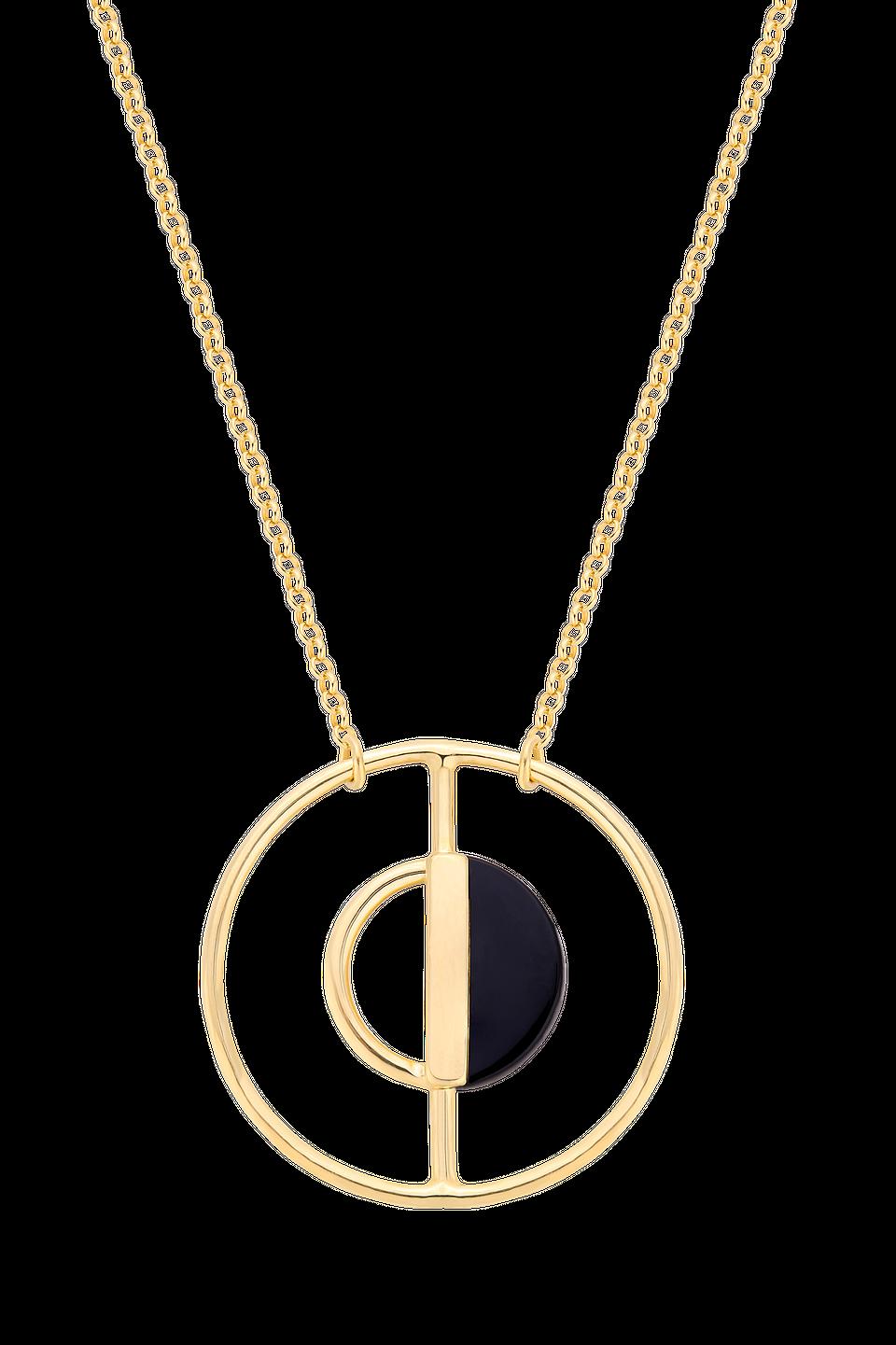 Naszyjnik z dużą zawieszką z czarnym kamieniem ozdobnym, 260 zł