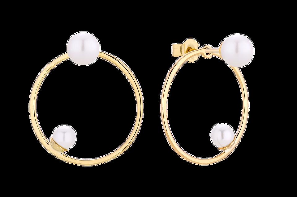 Kolczyki złote sztyfty plus karma z perłą, 690 zł