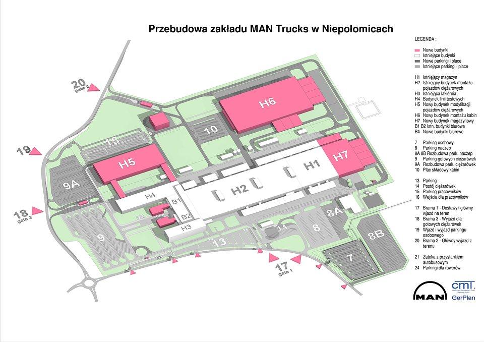 Projekt rozbudowy zakładu firmy MAN w Niepołomicach
