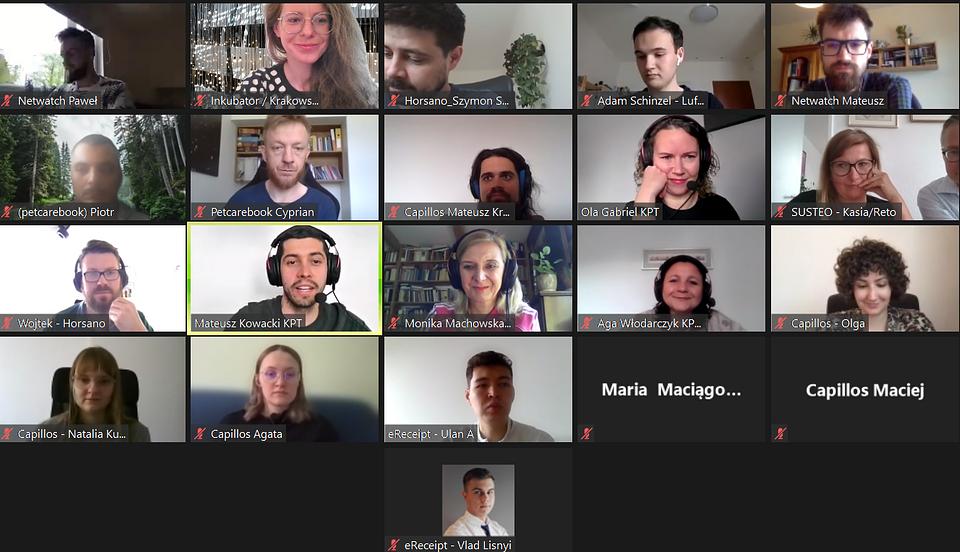 Warsztaty online prowadzone przez zespół Krakowskiego Parku Technologicznego.