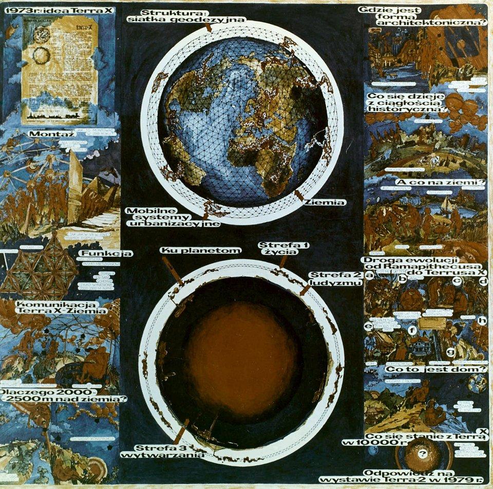 Stefan Müller, Terra X. Plansza eksponowana na wystawie Terra 1 w 1975 roku, fot. materiały prasowe Muzeum Architektury we Wrocławiu