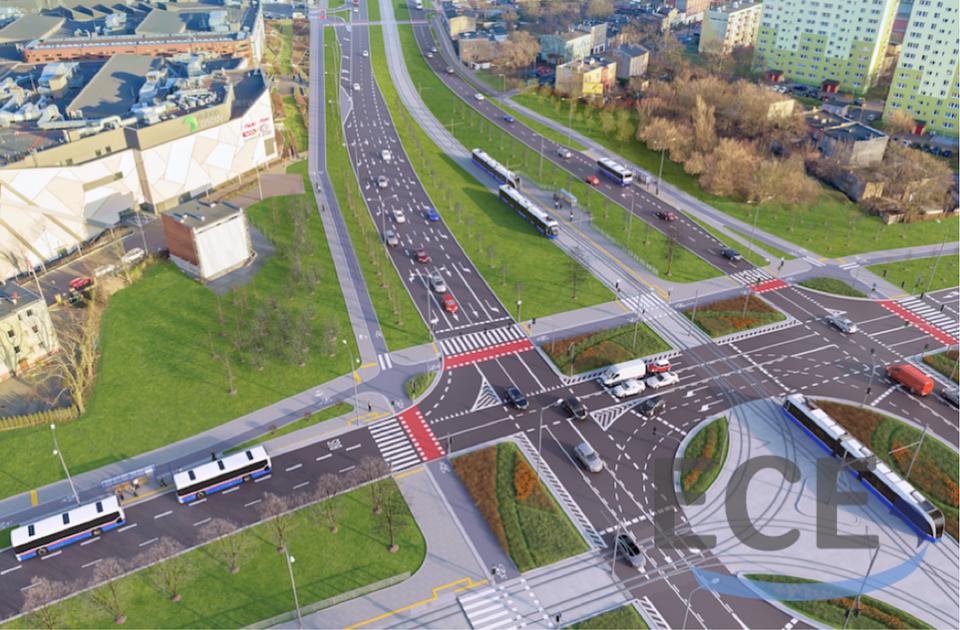 Wizualizacja remontu dróg dojazdowych do Zielonych Arkad wykonana przez ECE Projektmanagement