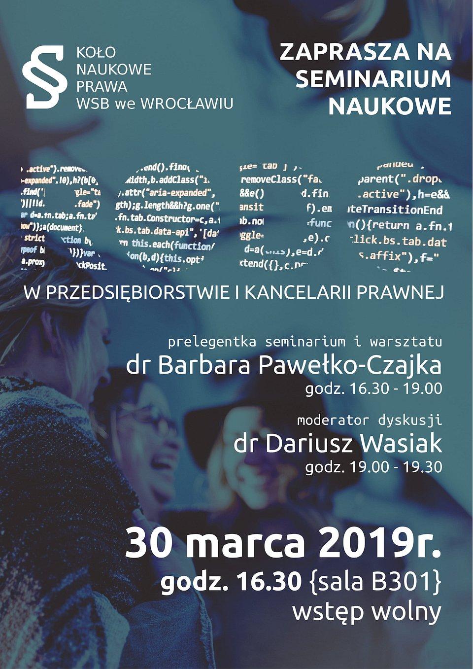 Plakat informacyjny - Seminarium pt. RODO w przedsiębiorstwie i kancelarii prawnej.