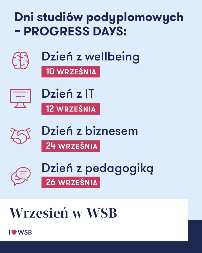 Terminy warsztatów w ramach Progress Days - wrzesień 2019.