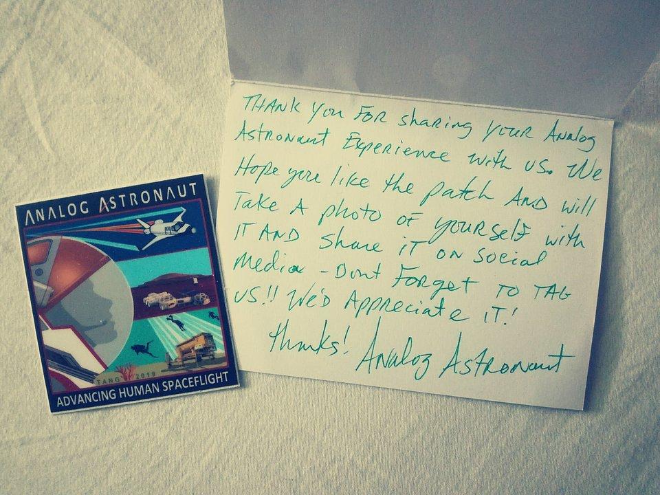 List od organizacji Analog Astronaut z Phoenix