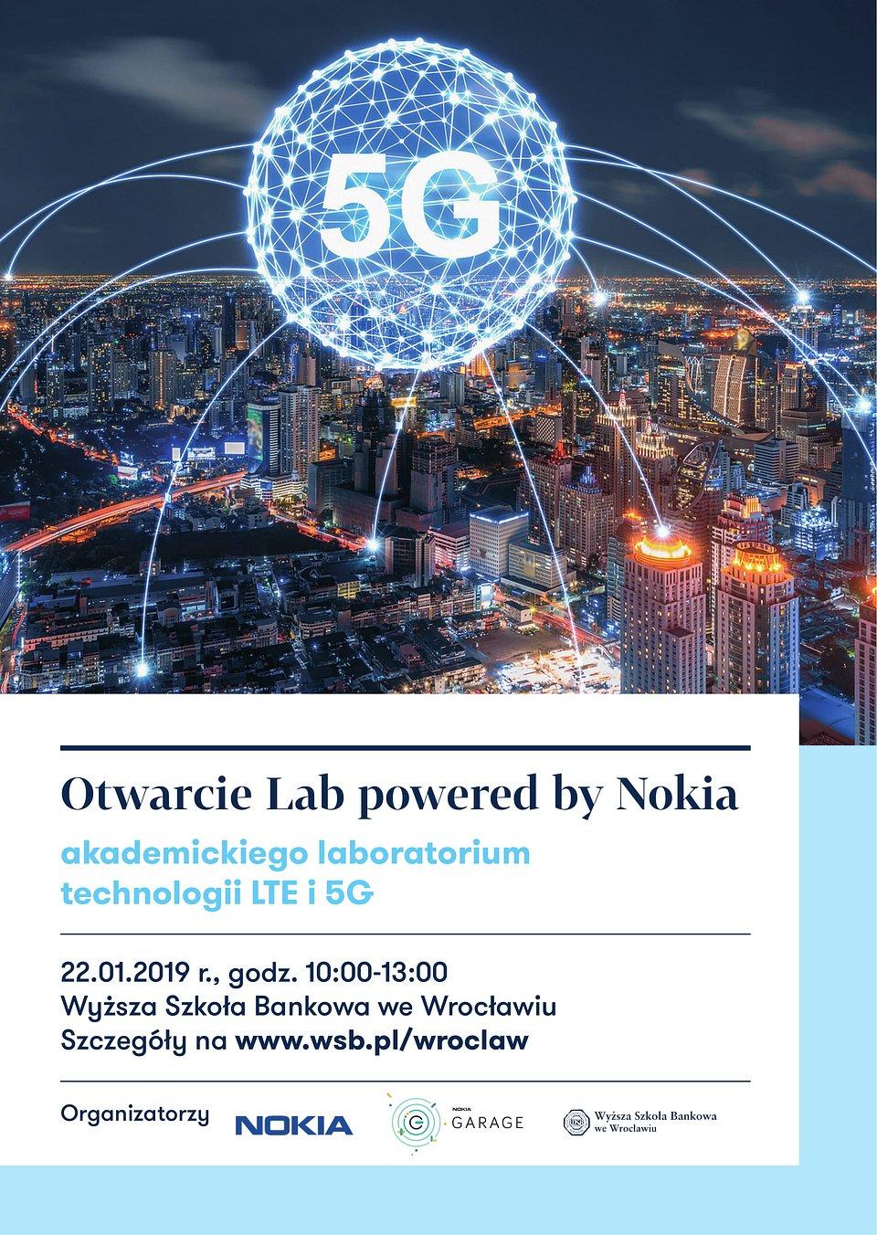 Otwarcie Lab powered by Nokia w WSB we Wrocławiu - plakat informacyjny