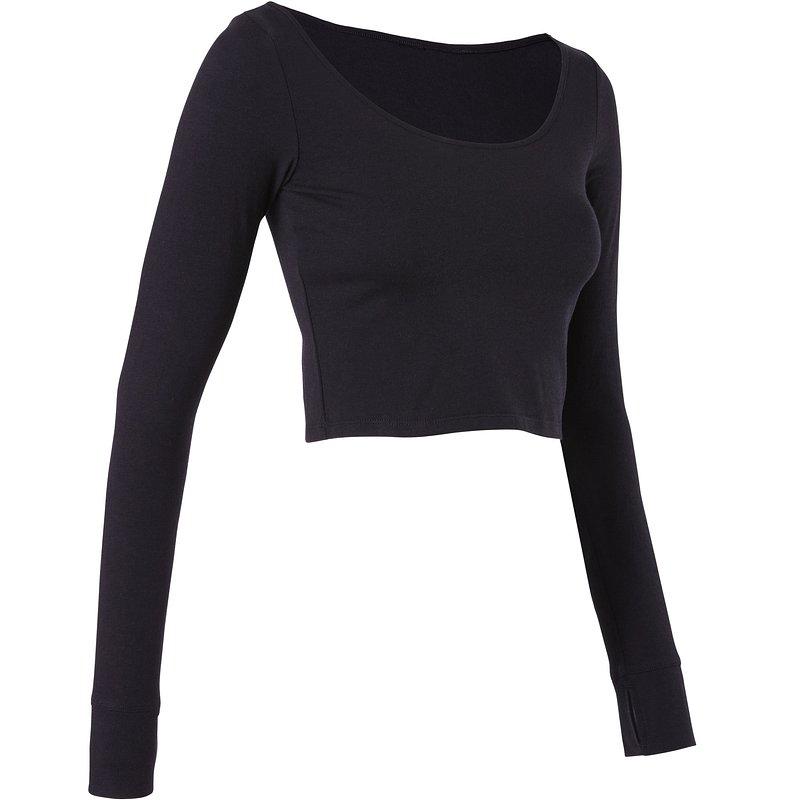 Decathlon, koszulka długi rękaw krótka do tańca nowoczesnego damska Domyos, 39,99 PLN.jpg