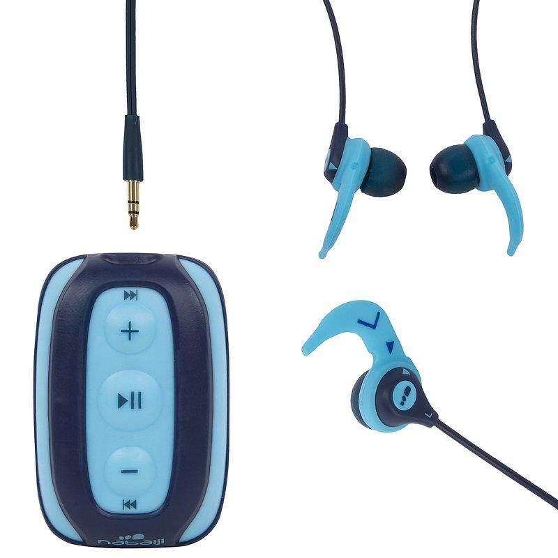 Decathlon, szczelny odtwarzacz pływacki mp3 swimmusic + słuchawki Nabaiji, 129,99 PLN.jpg