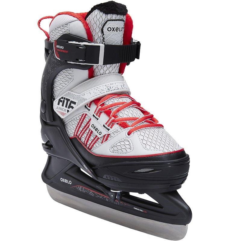 Decathlon, łyżwy fit500 szaro-czerwone Oxelo, 199,99 PLN.jpg