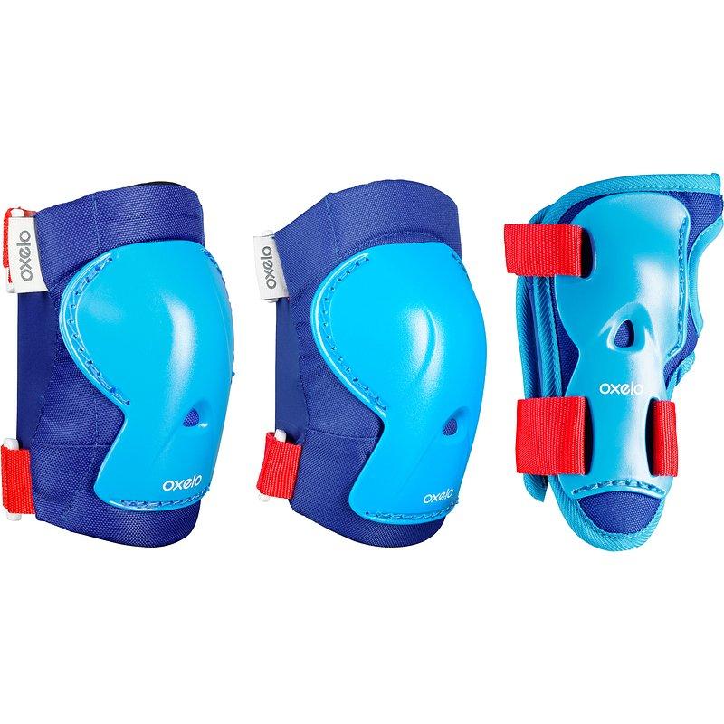 Decathlon, zestaw 3 ochraniaczy na rolki, deskorolkę i hulajnogę play dla dzieci Oxelo, 59,99 PLN.jpg