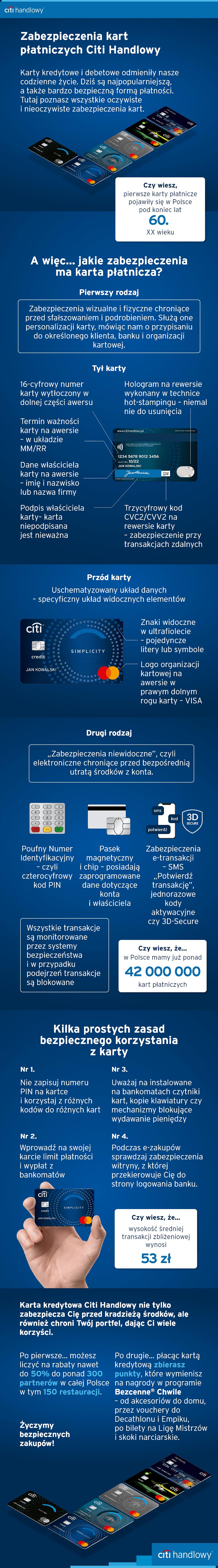 Infografika zabezpieczenia elektroniczne i fizyczne kart płatniczych w Polsce w 2020 roku