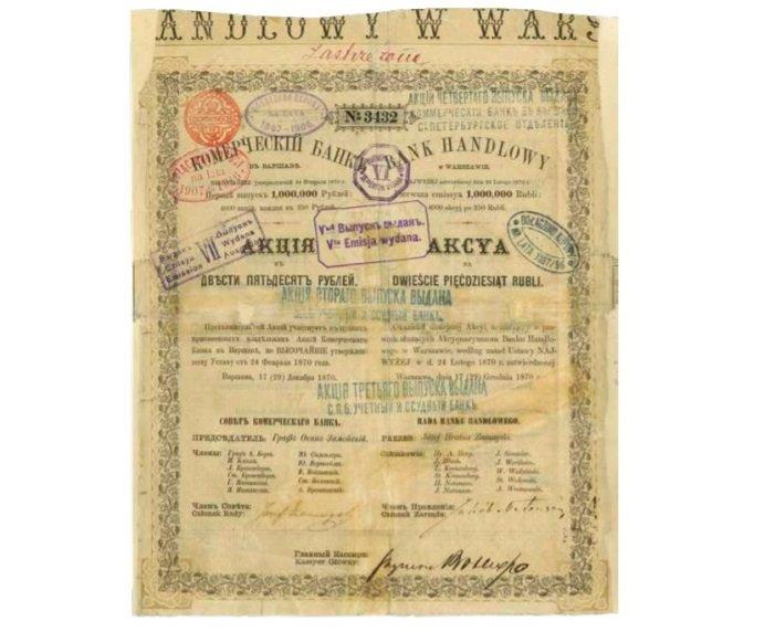 Pierwsza wyemitowana akcja Banku Handlowego w Warszawie wyrażona w rublach rosyjskich