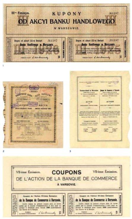Przykłady historycznych papierów wartościowych Banku Handlowego w Warszawie