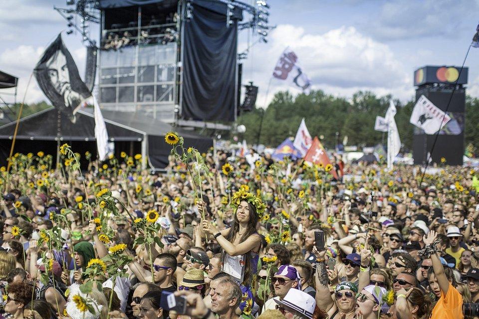 Publiczność ze słonecznikami. Fot. Marlena Kuczko
