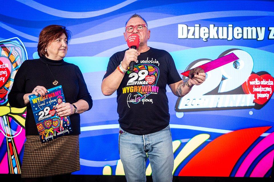 Lidia Niedzwiedzka-Owsiak i Jurek Owsiak podczas konferencji, fot. Michał Kwaśniewski