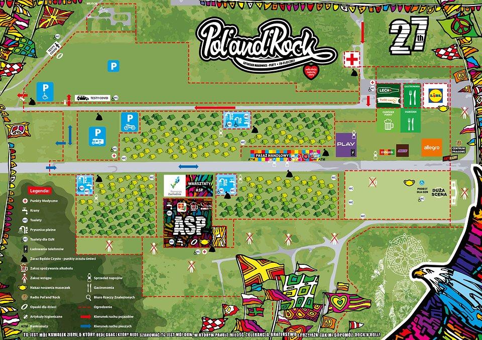 Mapa 27. Pol'and'Rock Festival z zaznaczonymi udogodnieniami dla osób z niepełnosprawnościami