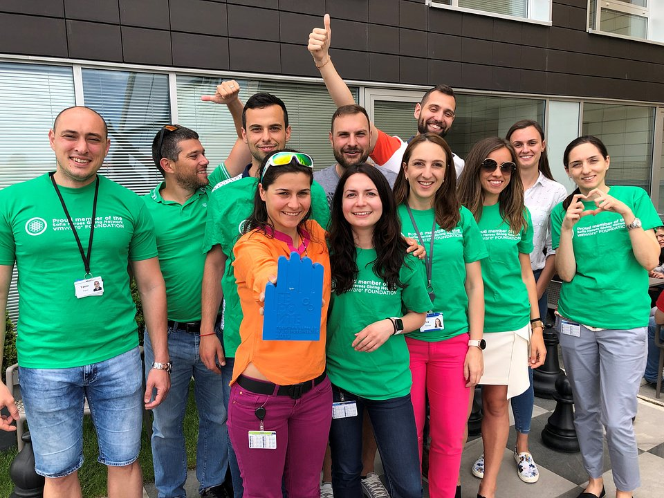 Dora with her friends from Sofia Heroes - VMware Bulgaria internal volunteer organization