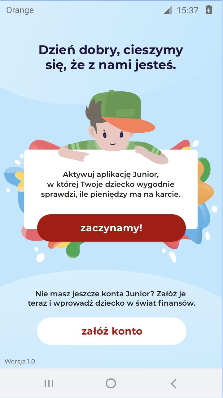 Bankowa aplikacja mobilna dla najmłodszych - rysunek na którym chłopiec trzyma białą plansze w rekach.