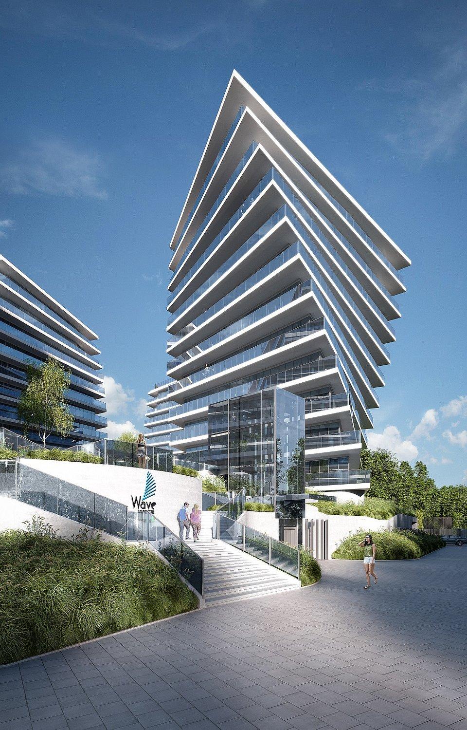 wave apartments Wizualizacja - bryły budynków