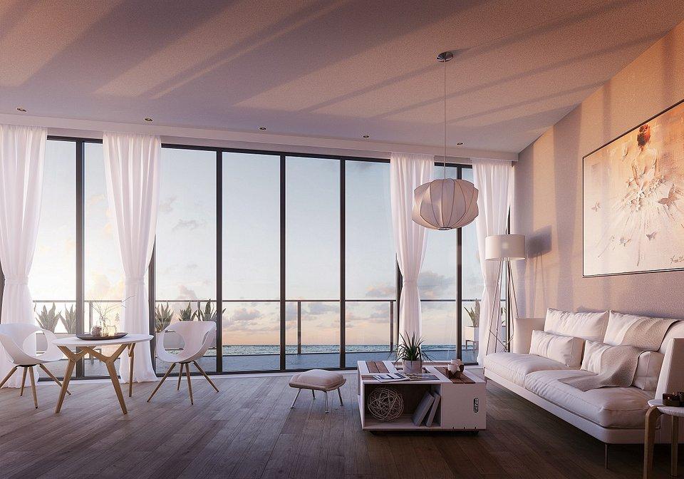 Wizualizacja_salon w stylu skandynawskim z widokiem na morze