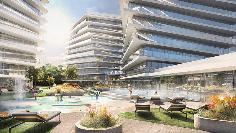 wave apartments Wizualizacja - wspólny dziedziniec