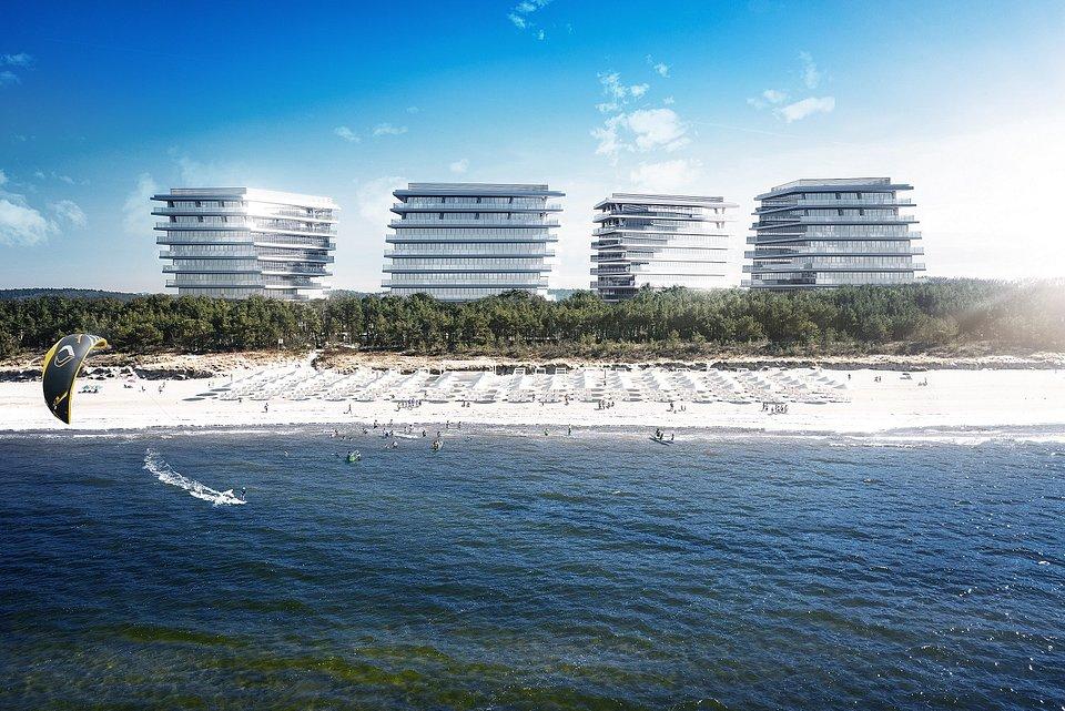 Wizualizacja inwestycji Wave Apartments - widok od strony morza