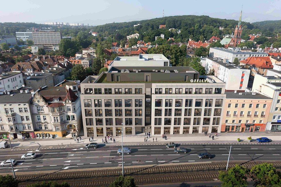 Officyna, Gdańsk Wrzeszcz 05 wizualizacja I etapu (front) i II etapu (w tle).jpg