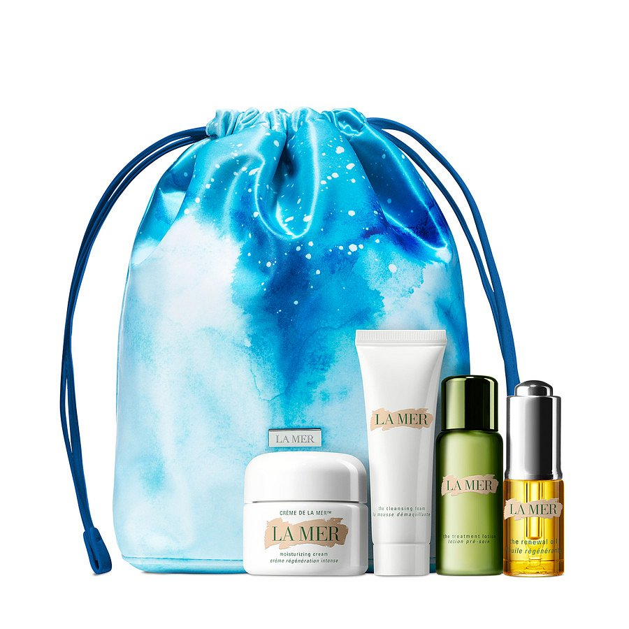 La Mer, Zestaw do włosów Indulgence Collection: The Moisturizing Cream 30 ml, The Renewal Oil 15 ml, The Treatment Lotion 30 ml, Cleansing Foam 30 ml, Starter Set Bag