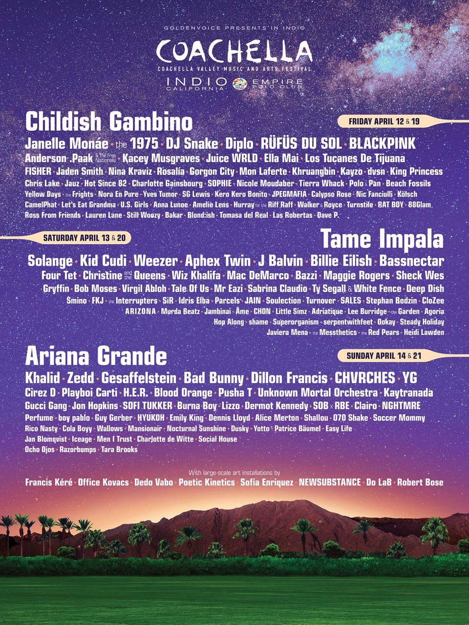 Coachella 2019 - line-up imprezy