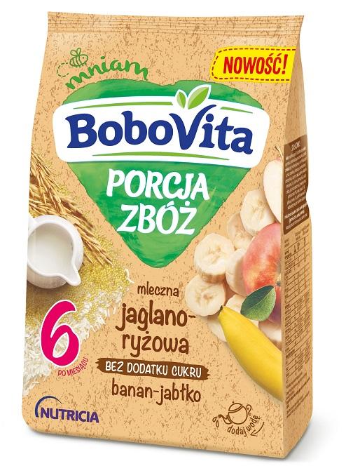 BoboVita PORCJA ZBÓŻ mleczna jaglano-ryżowa banan-jabłko po6. miesiącu życia