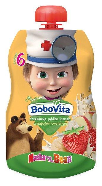 BoboVita truskawka, banan i jabłko z napojem owsianym po 6. miesiącu życia