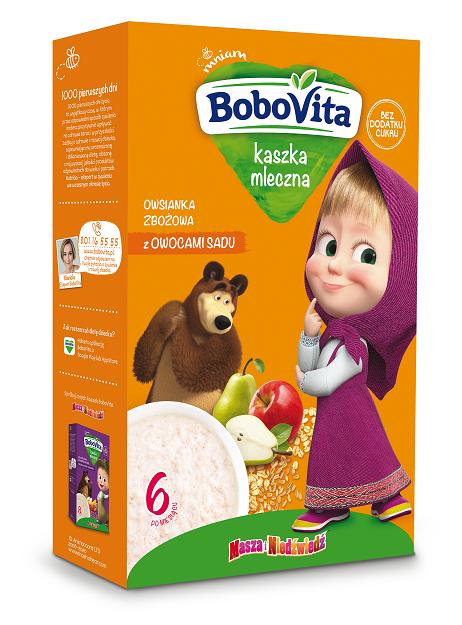 BoboVita kaszka mleczna owsianka zbożowa z owocami sadu po 6. miesiącu życia