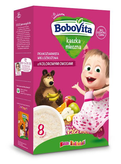 BoboVita kaszka mleczna pełnoziarnista wielozbożowa z kolorowymi owocami po 8. miesiącu życia
