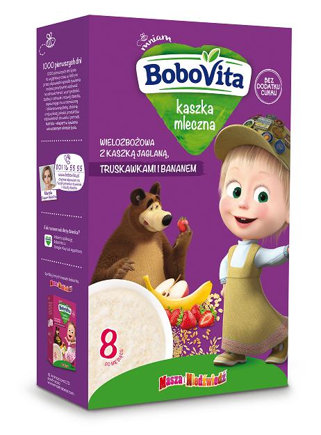 BoboVita kaszka mleczna wielozbożowa z kaszką jaglaną, truskawkami i bananem po 8. miesiącu życia
