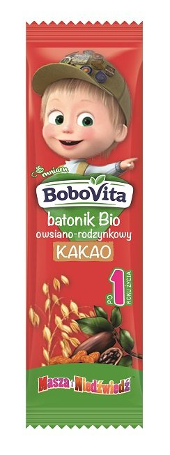 BoboVita batonik Bio owsiano-rodzynkowy kakao po 1. roku życia