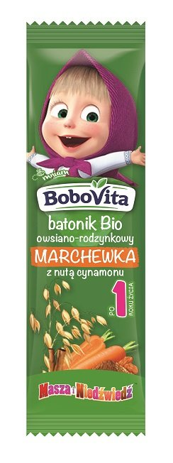 BoboVita batonik Bio owsiano-rodzynkowy marchewka z nutą cynamonu po 1. roku życia
