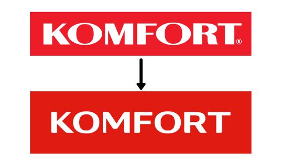 Góra: logotyp przed zmianą. Dół: nowy logotyp, po zmianie.