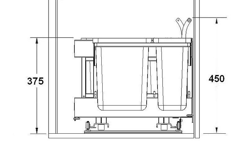 Rys. 2 Przestrzeń potrzebna do zamontowania koszy Würth z linii ECO-CORNER
