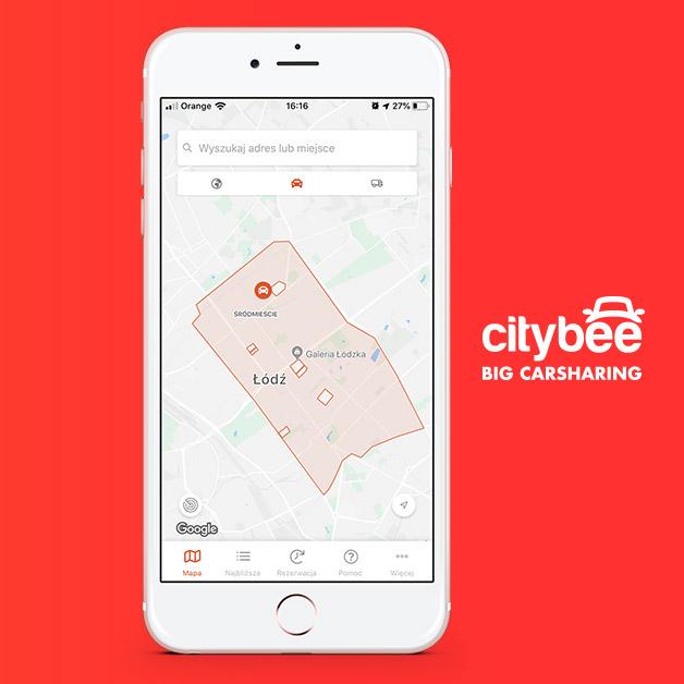 Aplikacja CityBee - strefa busów osobowych w Łodzi