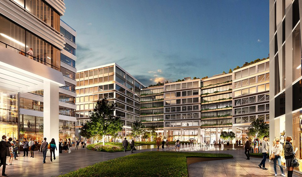 CGI of the future inner square of Agora Budapest paved with services and caf0s