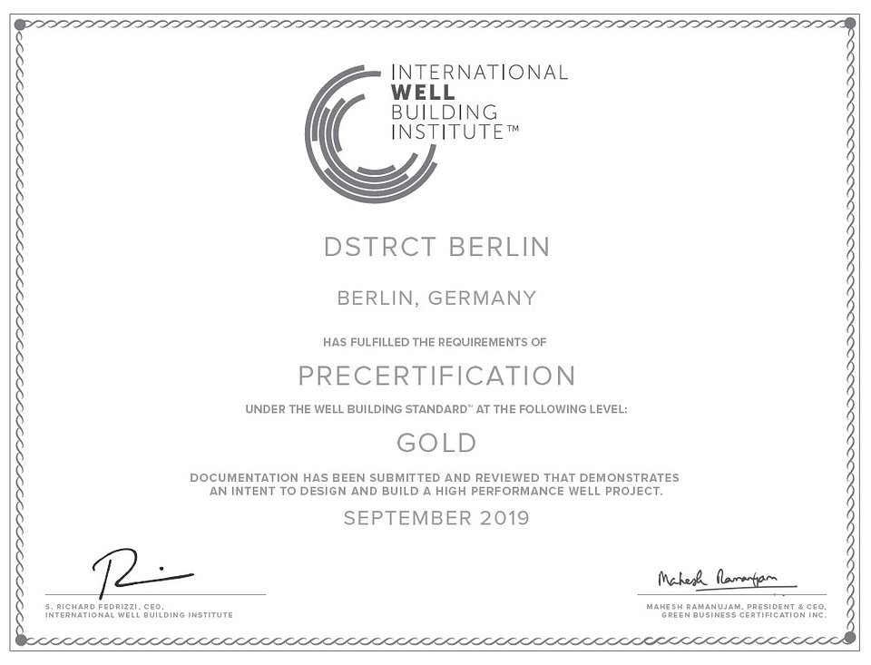 WELL pre-certificate for DSTRCT.Berlin