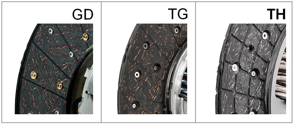 Porównanie konstrukcji tarcz w kolejnych technologiach: GD, TG, TH. Na zdjęciu po prawej widać nowe, opatentowane przez Valeo rowkowanie materiału ciernego zastosowane w tarczy typu TH.