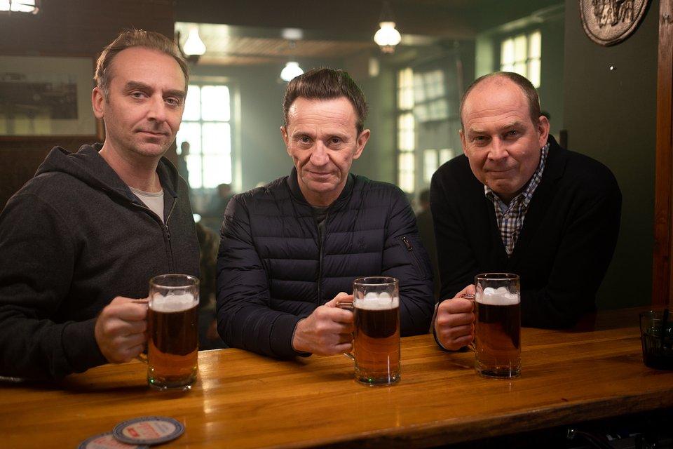 Wojciech Mecwaldowski (Piotrek), Paweł Wilczak (Adam) i Marcin Perchuć (Krzysztof)