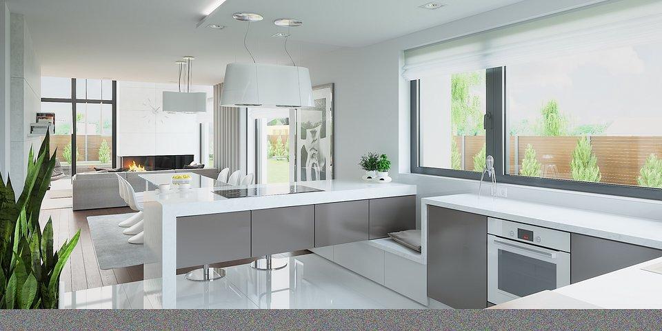Aluminiowe okna OknoPlus w nowoczesnej aranżacji kuchni HomeKONCEPT.